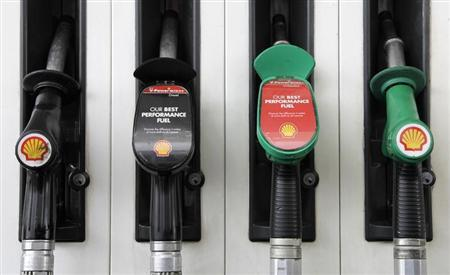 Fuel pumps are seen at a Shell petrol station in London May 15, 2013. REUTERS/Stefan Wermuth