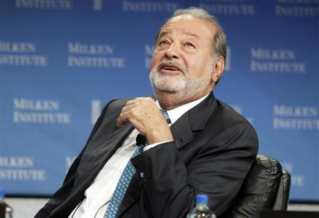 Carlos Slim, President of the Carlos Slim Foundation and the Telmex Foundation, speaks during ''A Conversation with Larry King and Carlos Slim'' at the Milken Institute Global Conference in Beverly Hills, California April 29, 2013. REUTERS/Fred Prouser