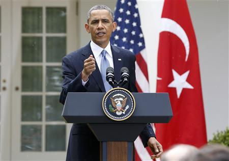 U.S. President Barack Obama addresses a joint news conference with Turkish Prime Minister Recep Tayyip Erdogan in the White House Rose Garden in Washington, May 16, 2013. REUTERS/Jason Reed