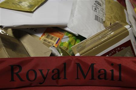 Sorted packages are seen at the Royal Mail Mount Pleasant Sorting Office in London May 10, 2012. REUTERS/Stefan Wermuth