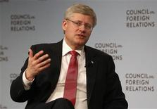 Canadian Prime Minister Stephen Harper speaks at the Council on Foreign Relations in New York, May 16, 2013. REUTERS/Shannon Stapleton