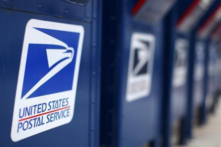 A view shows U.S. postal service mail boxes at a post office in Encinitas, California in this February 6, 2013, file photo. REUTERS/Mike Blake/Files