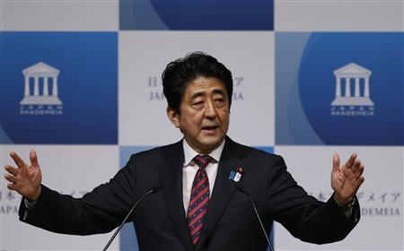 Japan's Prime Minister Shinzo Abe delivers a speech to business leaders and scholars during a meeting hosted by Japan Akademeia in Tokyo May 17, 2013. REUTERS/Issei Kato