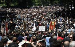 Orthodox Christian activists march before clashes with gay rights activists at an International Day Against Homophobia and Transphobia (IDAHO) rally in Tbilisi, May 17, 2013. REUTERS/David Mdzinarishvili