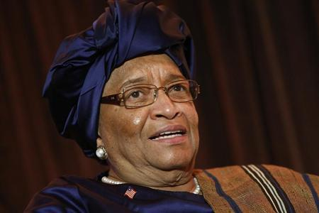 President of Liberia Ellen Johnson Sirleaf smiles during an onstage newsmakers interview with Reuters journalist Axel Threlfall in Washington, May 17, 2013. REUTERS/Jonathan Ernst