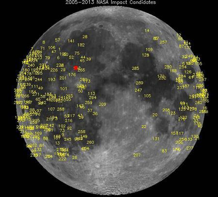 Hundreds of meteoroid impacts on the moon, detected by NASA's lunar monitoring program, are pictured in this undated NASA handout photo. REUTERS/NASA/Handout