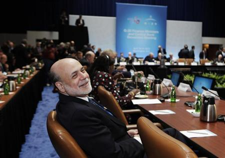 U.S. Federal Reserve Chairman Ben Bernanke attends the G20 finance ministers meeting during the Spring Meeting of the International Monetary Fund and World Bank in Washington, April 19, 2013. REUTERS/Yuri Gripas