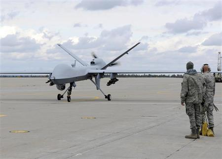 A U.S. Air Force MQ-9 Reaper unmanned aerial vehicle assigned to the 174th Fighter Wing prepares to take off from Wheeler-Sack Army Airfield at Fort Drum, N.Y. in this October 18, 2011 USAF handout photo obtained by Reuters February 6, 2013. REUTERS/U.S. Air Force/Staff Sgt. Ricky Best/Handout