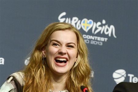 Denmark's Emmelie De Forest smiles at a news conference after winning the 2013 Eurovision Song Contest with her song ''Only Teardrops'' during the finals of the contest held at the Malmo Opera Hall in Malmo May 18, 2013. REUTERS/Janerik Henriksson/Scanpix Sweden