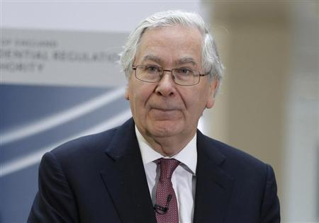 Governor of the Bank of England Mervyn King speaks to employees during the opening of the Prudential Regulation Authority, in central London April 2, 2013. REUTERS/Lefteris Pitarakis/POOL