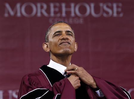 U.S. President Barack Obama adjusts his tie before receiving an honorary Doctor of Laws degree at the graduation ceremony of the class of 2013 at Morehouse College in Atlanta, Georgia May 19, 2013. REUTERS/Jason Reed