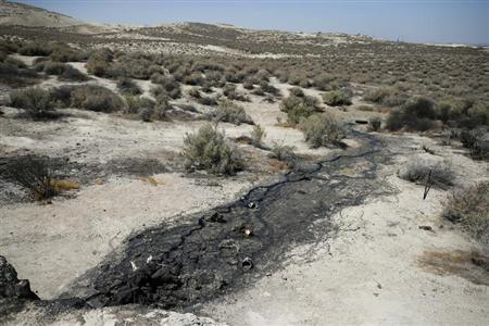 A naturally occurring oil seep is seen in McKittrick, California, April 29, 2013. REUTERS/Lucy Nicholson