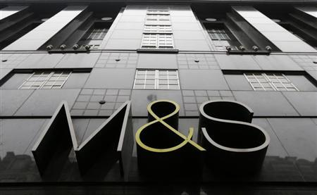 Branding is seen on a branch of Marks and Spencer on Oxford Street, central London, April 11, 2013. REUTERS/Andrew Winning