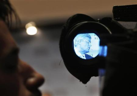 Canadian Prime Minister Stephen Harper is seen through a television camera scope while speaking at the Council on Foreign Relations in New York, May 16, 2013. REUTERS/Shannon Stapleton