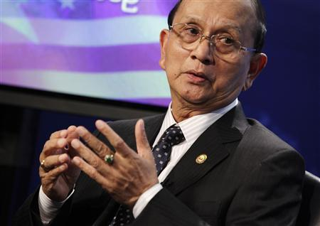 Myanmar President Thein Sein speaks during a town hall event at the Voice of America in Washington May 19, 2013. REUTERS/Yuri Gripas