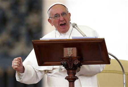 Pope Francis speaks as he leads a Pentecost vigil mass in Saint Peter's Square at the Vatican May 18, 2013. REUTERS/Stefano Rellandini