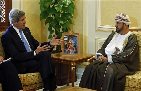U.S. Secretary of State John Kerry (L) meets with Oman's Minister of Defense Sayyid Badr bin Saud al Busaidi in Muscat, Oman May 22, 2013. REUTERS/Jim Young