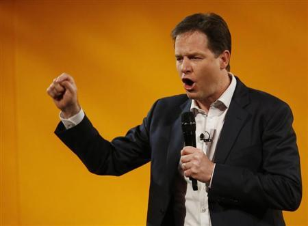 Britain's Deputy Prime Minister, and Leader of the Liberal Democrats, Nick Clegg, answers question during a question and answer session at the party's spring conference in Brighton, southern England March 9, 2013. REUTERS/Luke MacGregor