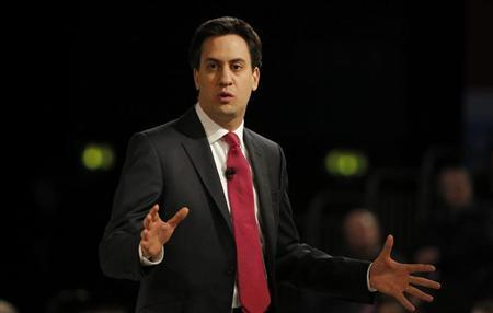 Labour party leader Ed Miliband delivers his keynote speech at the party's annual Spring Forum, in Birmingham, central England March 23, 2013. REUTERS/Phil Noble