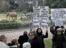 Manifestation devant le Parc de la Tête d'Or pour les deux éléphantes Baby et Népal, à Lyon, en janvier dernier. Le tribunal administratif de Lyon a annulé mercredi l'arrêté préfectoral ordonnant l'euthanasie des deux pachydermes, soupçonnés d'être porteurs de la tuberculose. /Photo prise le 6 janvier 2013/REUTERS/Robert Pratta