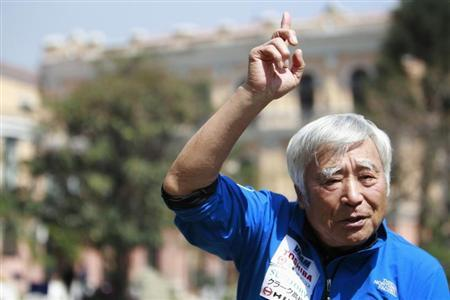 Japanese climber Yuichiro Miura, 80, gestures as he speaks during an interview with Reuters in Kathmandu March 30, 2013. REUTERS/Navesh Chitrakar