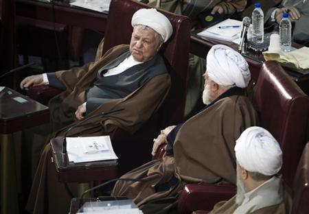 Iran's former President Akbar Hashemi Rafsanjani (L) attends Iran's Assembly of Experts' biannual meeting in Tehran March 6, 2012. REUTERS/Raheb Homavandi