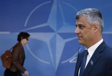 Kosovo's Prime Minister Hashim Thaci arrives at NATO headquarters after meeting Serbian Prime Minister Ivica Dacic (not pictured) and European Union foreign policy chief Catherine Ashton (not pictured), in Brussels April 19, 2013. REUTERS/Francois Lenoir