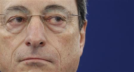 European Central Bank President Mario Draghi attends a debate at the European Parliament in Strasbourg, April 16, 2013. REUTERS/Vincent Kessler
