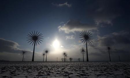 Wind turbines are pictured in this multiple exposure at the German village of Feldheim February 21, 2013. Feldheim, a 60-minute drive south of Berlin and home to about 125 people, is Germany's first and only energy self-sufficient village. REUTERS/Tobias Schwarz