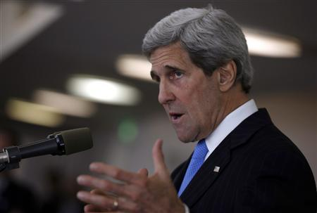 U.S. Secretary of State John Kerry speaks at a news conference in Tel Aviv May 24, 2013. REUTERS/Jim Young