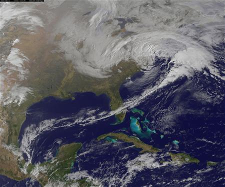 A winter storm system is seen over the eastern United States in this March 6, 2013 satellite image courtesy of NASA. REUTERS/NASA/NOAA/GOES/Handout