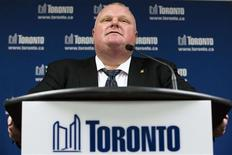 Toronto Mayor Rob Ford makes a statement to the media in Toronto, May 24, 2013. Ford on Friday denied allegations that he had smoked crack-cocaine and said he could not comment on a video he had not seen or does not exist. REUTERS/Mark Blinch