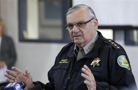 Maricopa County Sheriff Joe Arpaio addresses the media about a simulated school shooting in Fountain Hills, Arizona, February 9, 2013. REUTERS/Darryl Webb