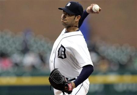 Detroit Tigers starting pitcher Anibal Sanchez throws to the Toronto Blue Jays during the first inning of their MLB American League baseball game in Detroit, Michigan April 9, 2013. REUTERS/ Rebecca Cook