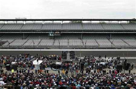A general view of the drivers meeting for the Indianapolis 500 at the Indianapolis Motor Speedway in Indianapolis, Indiana May 25, 2013. REUTERS/Matt Sullivan