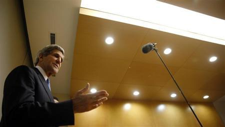 U.S. Secretary of State John Kerry speaks at a news conference in Addis Ababa, Ethiopia, May 25, 2013. REUTERS/Jim Young