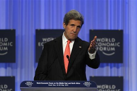 Secretary of State John Kerry speaks during the World Economic Forum on the Middle East and North Africa at the King Hussein Convention Centre, at the Dead Sea May 26, 2013. REUTERS/Muhammad Hamed