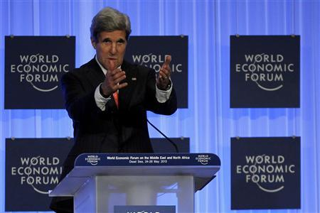 Secretary of State John Kerry gestures during the World Economic Forum on the Middle East and North Africa at the King Hussein Convention Centre, at the Dead Sea May 26, 2013. REUTERS/Muhammad Hamed