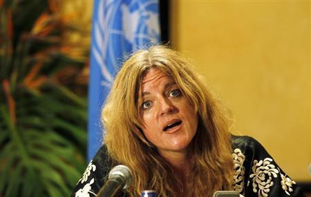 United Nations Mission in the Republic of South Sudan (UNMISS) Special Representative to Secretary General (SRSG) Hilde Johnson addresses a news conference in Kenya's capital Nairobi March 6, 2012. REUTERS/Thomas Mukoya