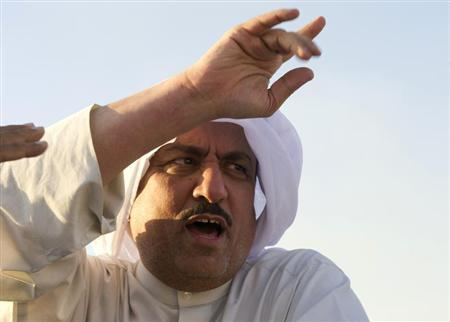 Musallam al-Barrak, an outspoken former member of parliament, waves as he leaves the Kuwait Central Jail in Sulaibiya November 1, 2012. REUTERS/Stephanie Mcgehee