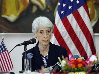 Wendy Sherman, U.S. under secretary of state for political affairs, talks during a news conference in Dhaka May 27, 2013. REUTERS-Andrew Biraj