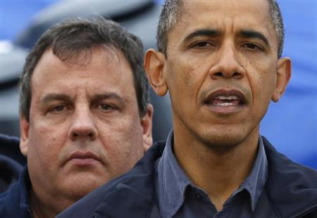 President Barack Obama speaks after a tour around the damage done by Hurricane Sandy in Brigantine, New Jersey, in this file October 31, 2012 photo. New Jersey Governor Chris Christie stands behind Obama. REUTERS/Larry Downing