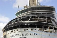 Damage on the Royal Caribbean ship Grandeur of the Seas is pictured as the ship is docked in Freeport May 27, 2013. REUTERS/Vandyke Hepburn