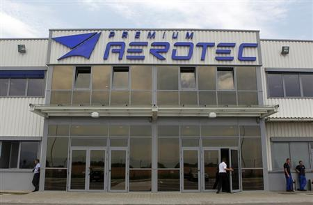 View of the main entrance of Premium Aerotec factory, owned by European EADS, Europe's largest aerospace company, in Ghimbav, 190 km north of Bucharest July 12, 2011. REUTERS/Bogdan Cristel