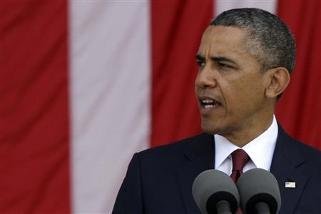 U.S. President Barack Obama makes remarks during Memorial Day observances at Arlington National Cemetery in Arlington, Virginia, May 27, 2013. REUTERS/Jonathan Ernst