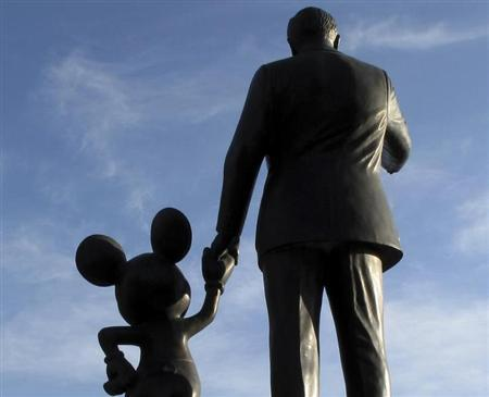 Statues of Walt Disney and Mickey Mouse are seen at Disneyland in Anaheim, California, March 11, 2011. REUTERS/Mike Blake