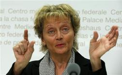Swiss Finance Minister Eveline Widmer-Schlumpf gestures during a news conference in Bern May 29, 2013. REUTERS/Arnd Wiegmann