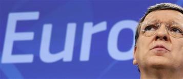 José Manuel Barroso, président de la Commission européenne. Prenant ses distances avec les politiques d'austérité, Bruxelles demande à la zone euro de privilégier la réforme des marchés du travail et des services tout en se donnant un peu plus de temps pour réduire son endettement. /Photo prise le 29 mai 2013/REUTERS/François Lenoir