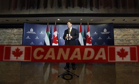 Canada's Foreign Minister John Baird pauses while speaking to journalists at the Lester B. Pearson Building in Ottawa May 28, 2013. REUTERS/Chris Wattie