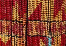 Инсталяция из крашеных яиц в Киеве 29 апреля 2013 года. Крупнейший на Украине производитель яиц и яичных продуктов агрохолдинг Авангард в первом квартале 2013 года сократил чистую прибыль на 16 процентов в годовом выражении до $60,7 миллиона из-за гражданской войны в Сирии и снижения внутренних цен на яйца на 8,1 процента. REUTERS/Gleb Garanich